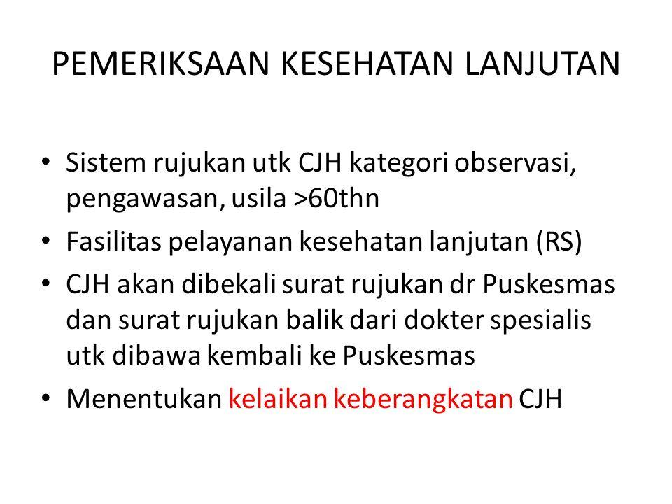 Sistem rujukan utk CJH kategori observasi, pengawasan, usila >60thn Fasilitas pelayanan kesehatan lanjutan (RS) CJH akan dibekali surat rujukan dr Pus
