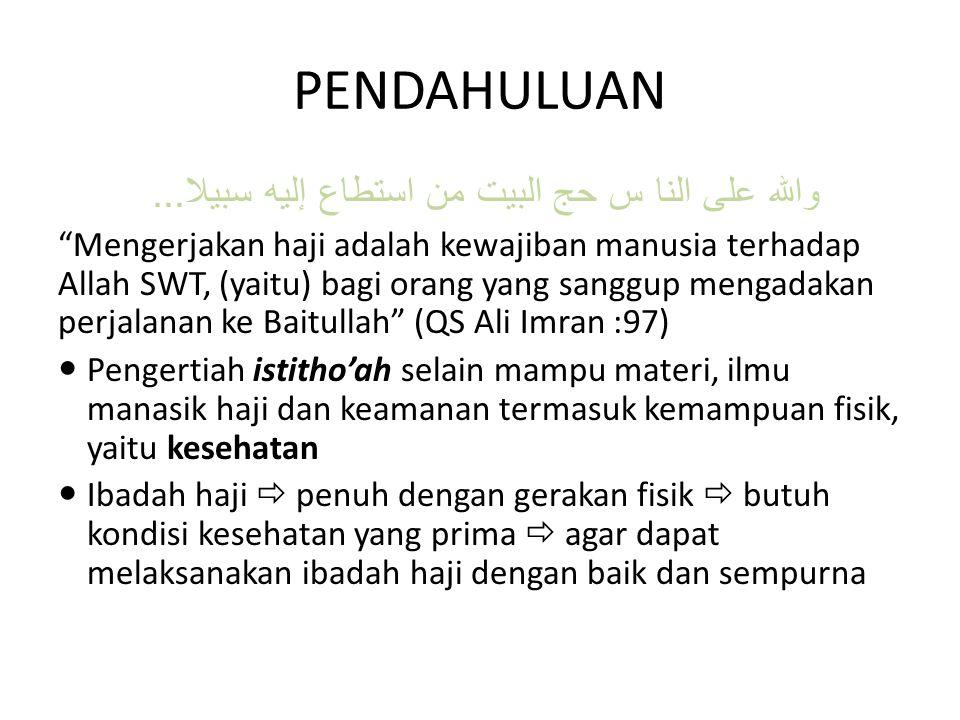 "والله على النا س حج البيت من استطاع إليه سبيلا... ""Mengerjakan haji adalah kewajiban manusia terhadap Allah SWT, (yaitu) bagi orang yang sanggup menga"