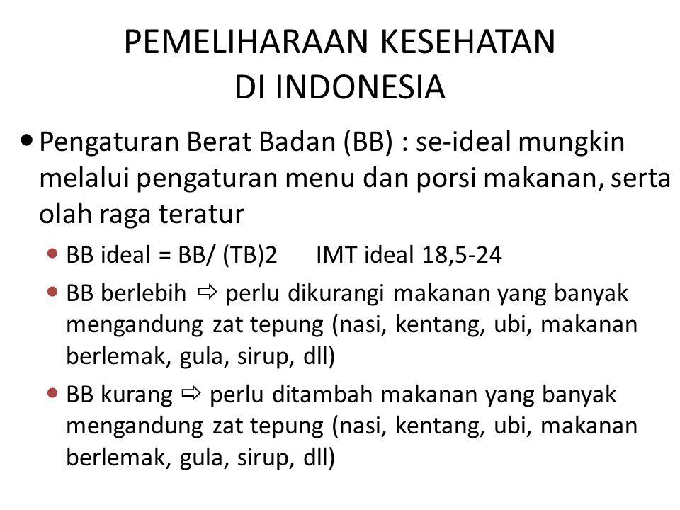 Pengaturan Berat Badan (BB) : se-ideal mungkin melalui pengaturan menu dan porsi makanan, serta olah raga teratur BB ideal = BB/ (TB)2 IMT ideal 18,5-