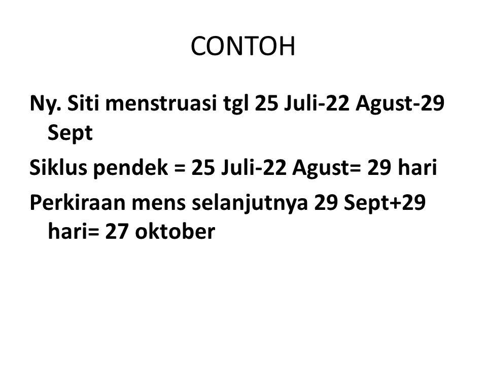 CONTOH Ny. Siti menstruasi tgl 25 Juli-22 Agust-29 Sept Siklus pendek = 25 Juli-22 Agust= 29 hari Perkiraan mens selanjutnya 29 Sept+29 hari= 27 oktob