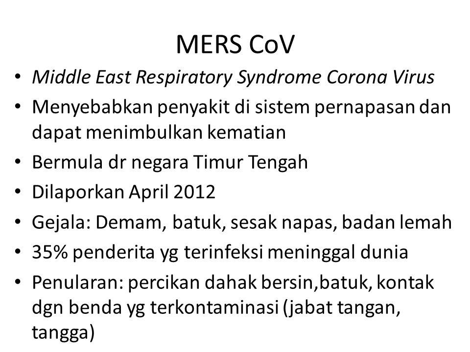 Middle East Respiratory Syndrome Corona Virus Menyebabkan penyakit di sistem pernapasan dan dapat menimbulkan kematian Bermula dr negara Timur Tengah Dilaporkan April 2012 Gejala: Demam, batuk, sesak napas, badan lemah 35% penderita yg terinfeksi meninggal dunia Penularan: percikan dahak bersin,batuk, kontak dgn benda yg terkontaminasi (jabat tangan, tangga) MERS CoV