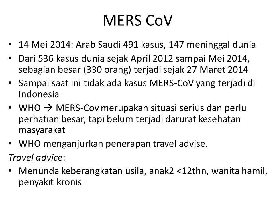 14 Mei 2014: Arab Saudi 491 kasus, 147 meninggal dunia Dari 536 kasus dunia sejak April 2012 sampai Mei 2014, sebagian besar (330 orang) terjadi sejak