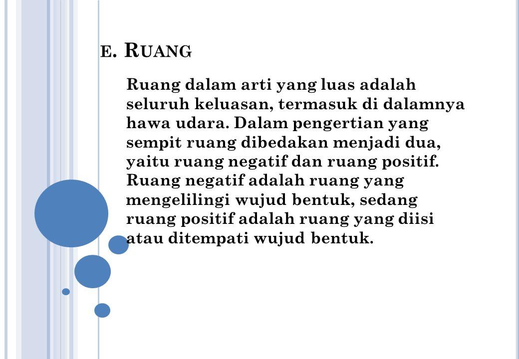 E.R UANG Ruang dalam arti yang luas adalah seluruh keluasan, termasuk di dalamnya hawa udara.
