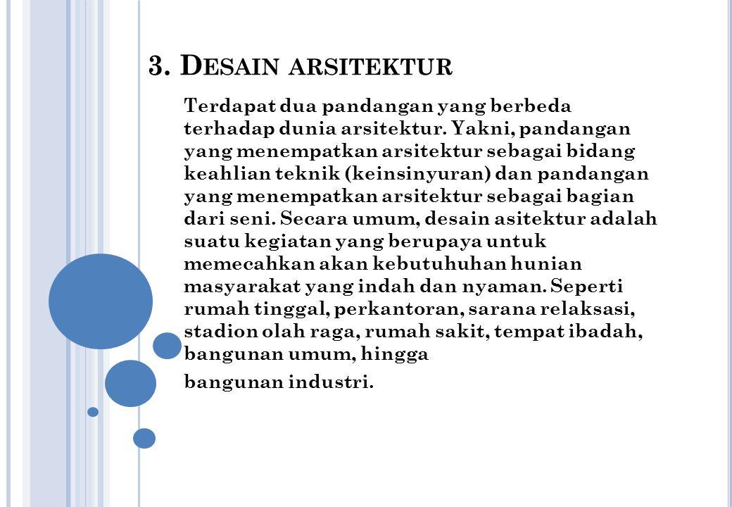 3.D ESAIN ARSITEKTUR Terdapat dua pandangan yang berbeda terhadap dunia arsitektur.