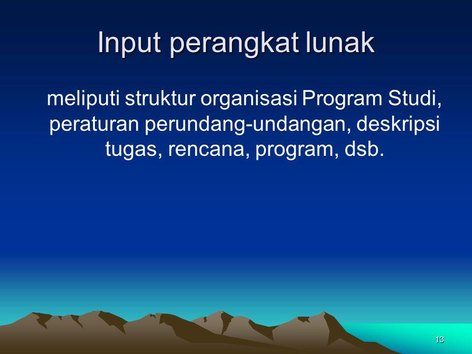 13 Input perangkat lunak meliputi struktur organisasi Program Studi, peraturan perundang-undangan, deskripsi tugas, rencana, program, dsb.