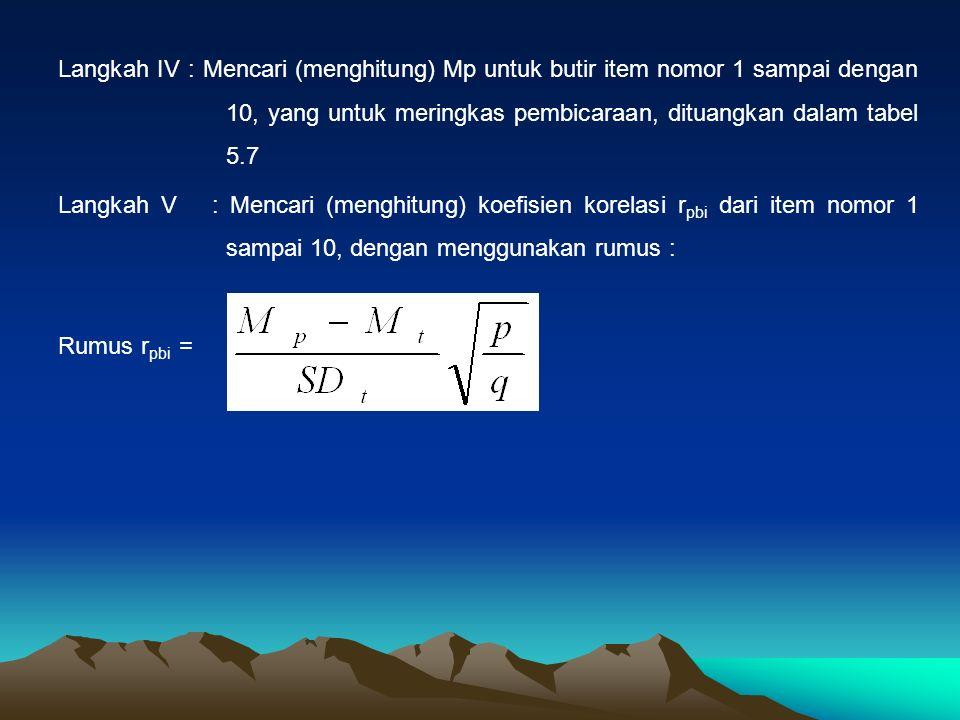 Langkah IV : Mencari (menghitung) Mp untuk butir item nomor 1 sampai dengan 10, yang untuk meringkas pembicaraan, dituangkan dalam tabel 5.7 Langkah V : Mencari (menghitung) koefisien korelasi r pbi dari item nomor 1 sampai 10, dengan menggunakan rumus : Rumus r pbi =