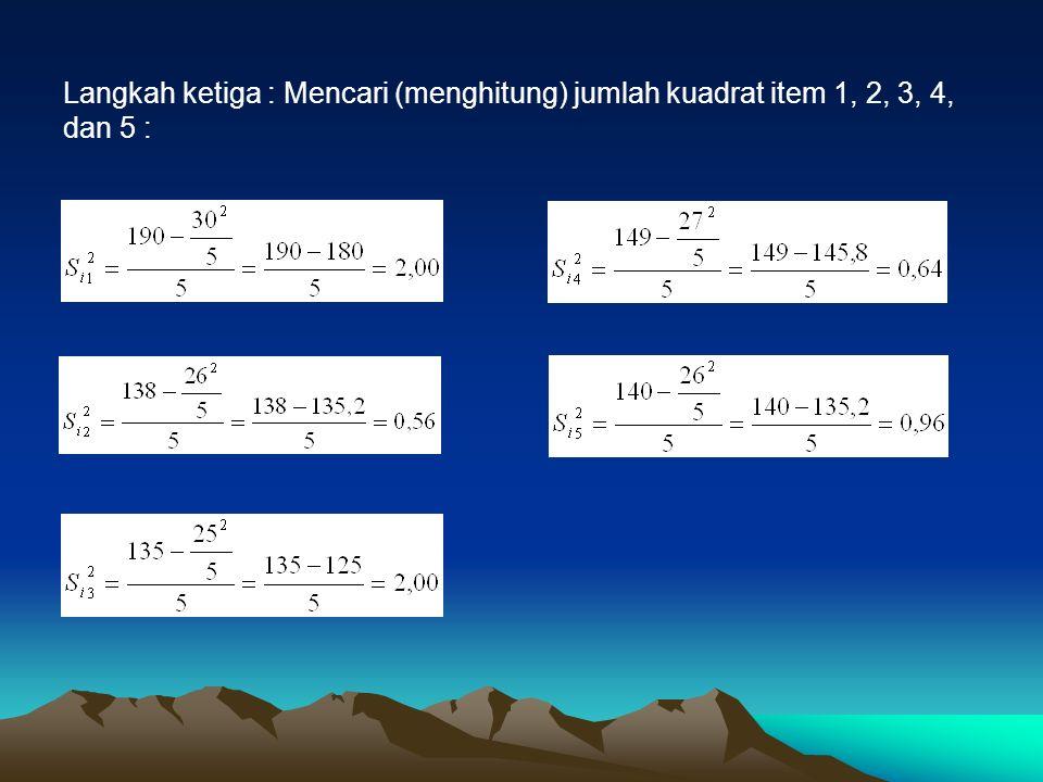 Langkah ketiga : Mencari (menghitung) jumlah kuadrat item 1, 2, 3, 4, dan 5 :