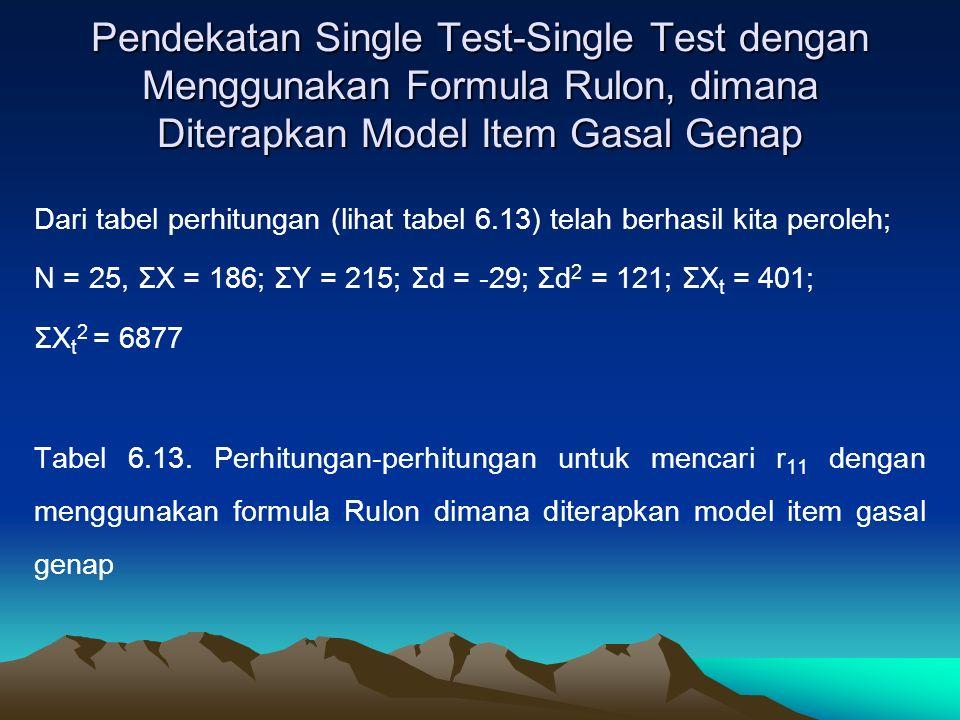 Pendekatan Single Test-Single Test dengan Menggunakan Formula Rulon, dimana Diterapkan Model Item Gasal Genap Dari tabel perhitungan (lihat tabel 6.13) telah berhasil kita peroleh; N = 25, ΣX = 186; ΣY = 215; Σd = -29; Σd 2 = 121; ΣX t = 401; ΣX t 2 = 6877 Tabel 6.13.