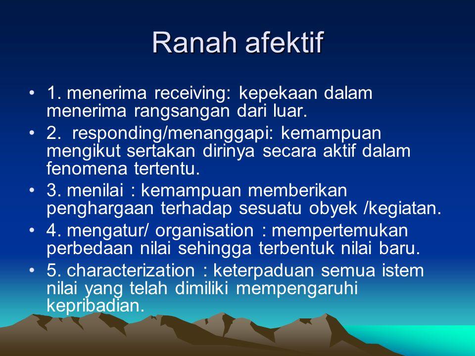 Ranah afektif 1. menerima receiving: kepekaan dalam menerima rangsangan dari luar. 2. responding/menanggapi: kemampuan mengikut sertakan dirinya secar