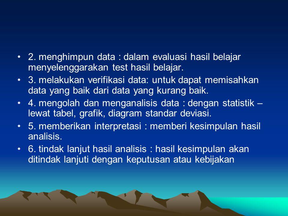 2. menghimpun data : dalam evaluasi hasil belajar menyelenggarakan test hasil belajar. 3. melakukan verifikasi data: untuk dapat memisahkan data yang