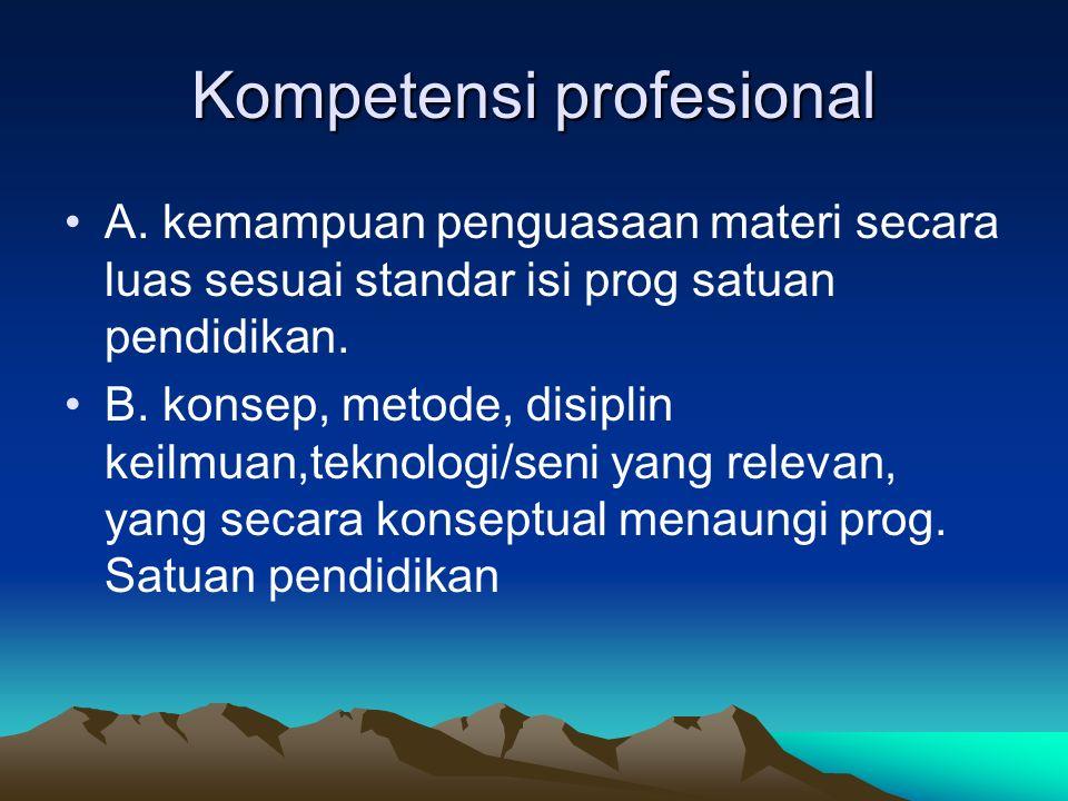 Kompetensi profesional A. kemampuan penguasaan materi secara luas sesuai standar isi prog satuan pendidikan. B. konsep, metode, disiplin keilmuan,tekn