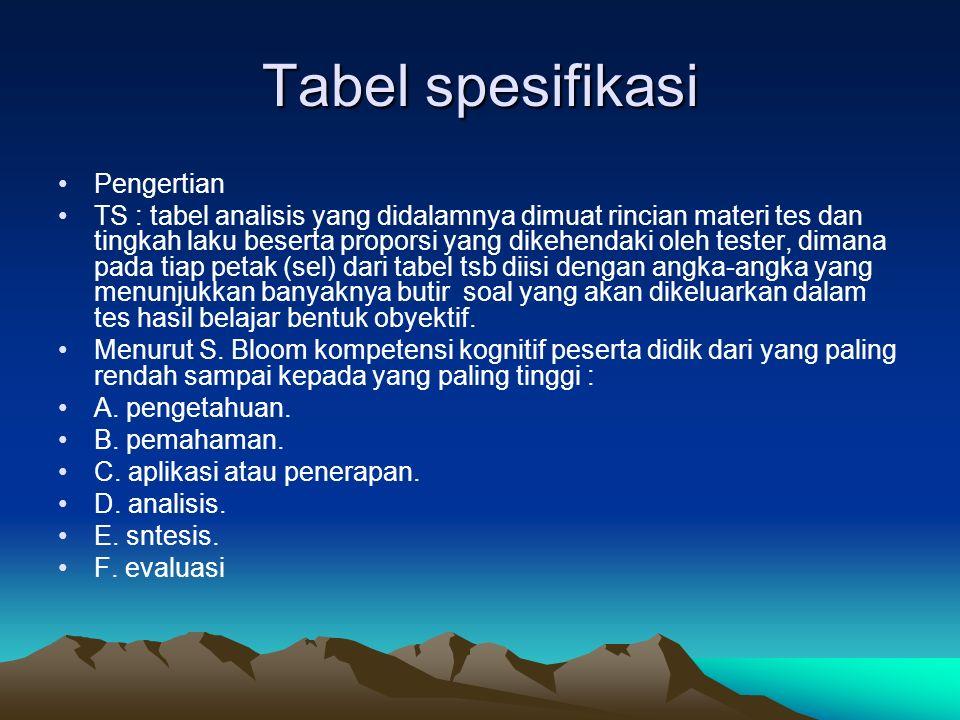 Tabel spesifikasi Pengertian TS : tabel analisis yang didalamnya dimuat rincian materi tes dan tingkah laku beserta proporsi yang dikehendaki oleh tes