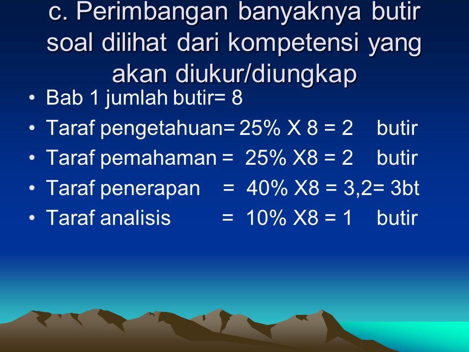 c. Perimbangan banyaknya butir soal dilihat dari kompetensi yang akan diukur/diungkap Bab 1 jumlah butir= 8 Taraf pengetahuan= 25% X 8 = 2 butir Taraf