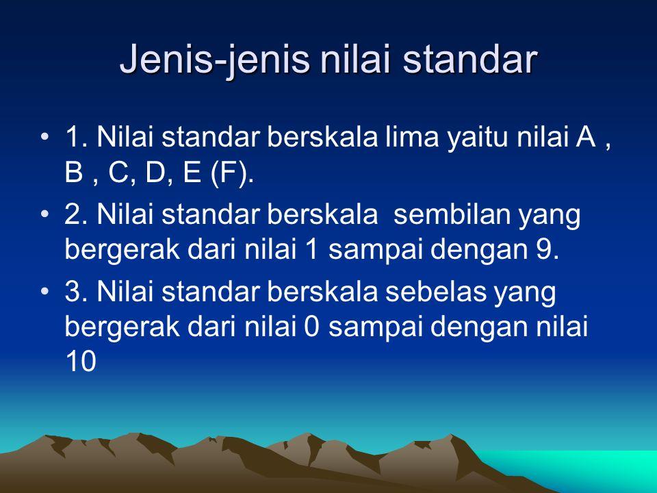 Jenis-jenis nilai standar 1. Nilai standar berskala lima yaitu nilai A, B, C, D, E (F). 2. Nilai standar berskala sembilan yang bergerak dari nilai 1