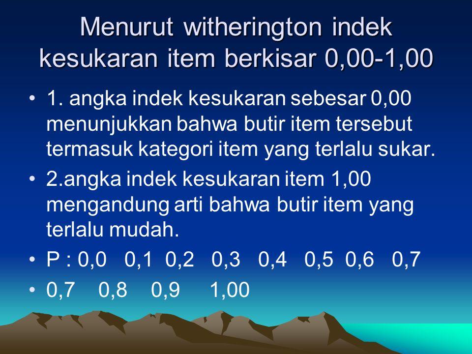 Menurut witherington indek kesukaran item berkisar 0,00-1,00 1. angka indek kesukaran sebesar 0,00 menunjukkan bahwa butir item tersebut termasuk kate