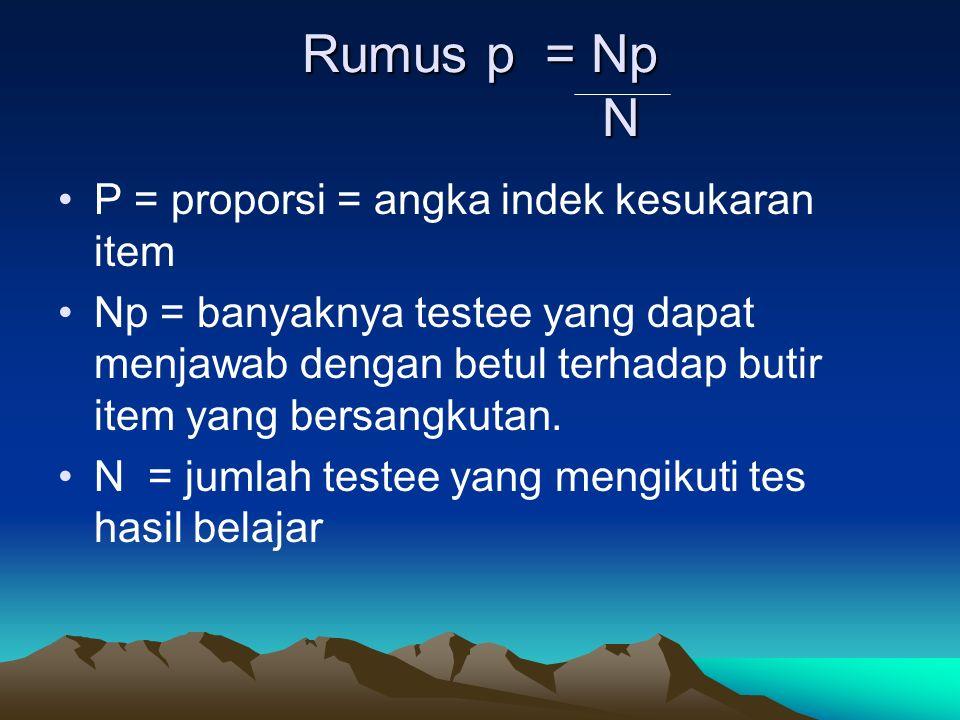 Rumus p = Np N P = proporsi = angka indek kesukaran item Np = banyaknya testee yang dapat menjawab dengan betul terhadap butir item yang bersangkutan.