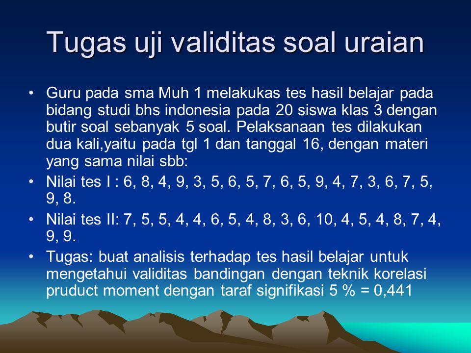 Tugas uji validitas soal uraian Guru pada sma Muh 1 melakukas tes hasil belajar pada bidang studi bhs indonesia pada 20 siswa klas 3 dengan butir soal sebanyak 5 soal.