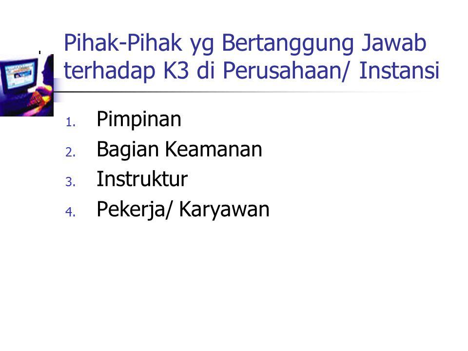 Pihak-Pihak yg Bertanggung Jawab terhadap K3 di Perusahaan/ Instansi 1.
