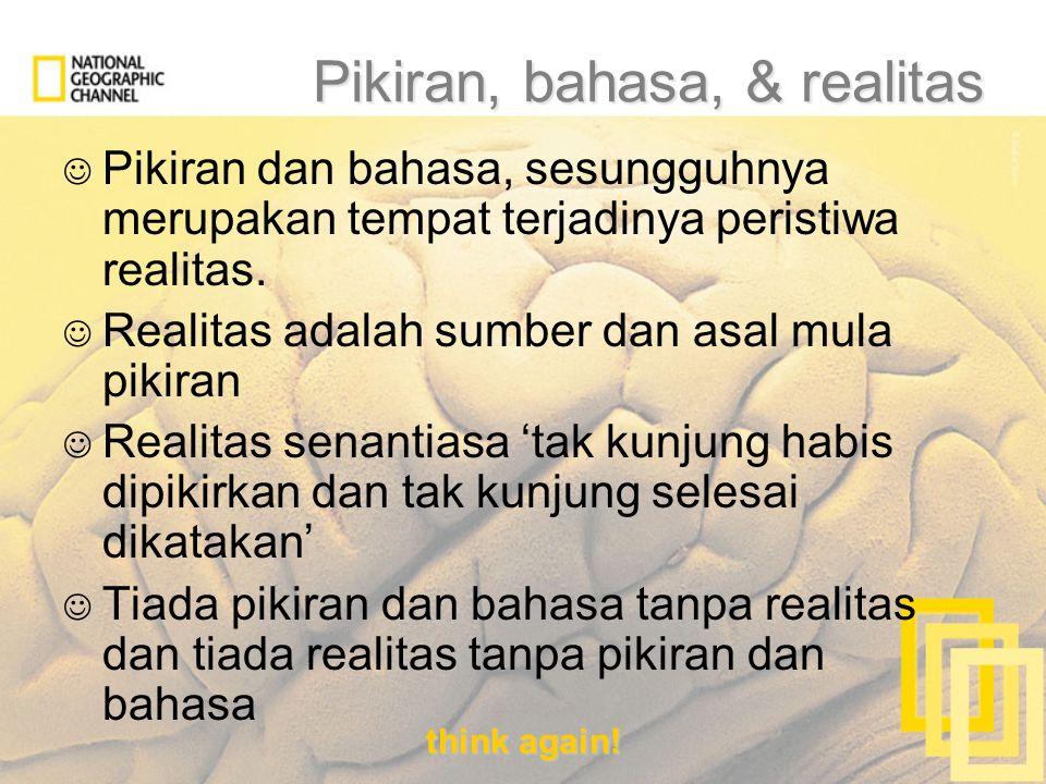 think again! Pikiran, bahasa, & realitas Pikiran dan bahasa, sesungguhnya merupakan tempat terjadinya peristiwa realitas. Realitas adalah sumber dan a