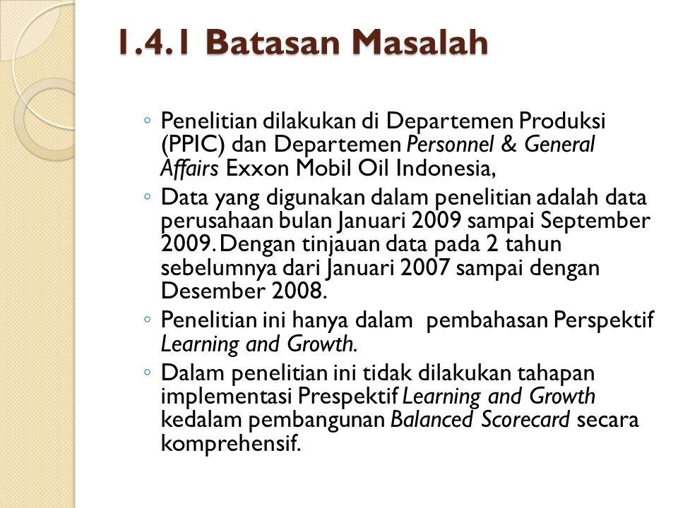 1.4.1 Batasan Masalah ◦ Penelitian dilakukan di Departemen Produksi (PPIC) dan Departemen Personnel & General Affairs Exxon Mobil Oil Indonesia, ◦ Dat