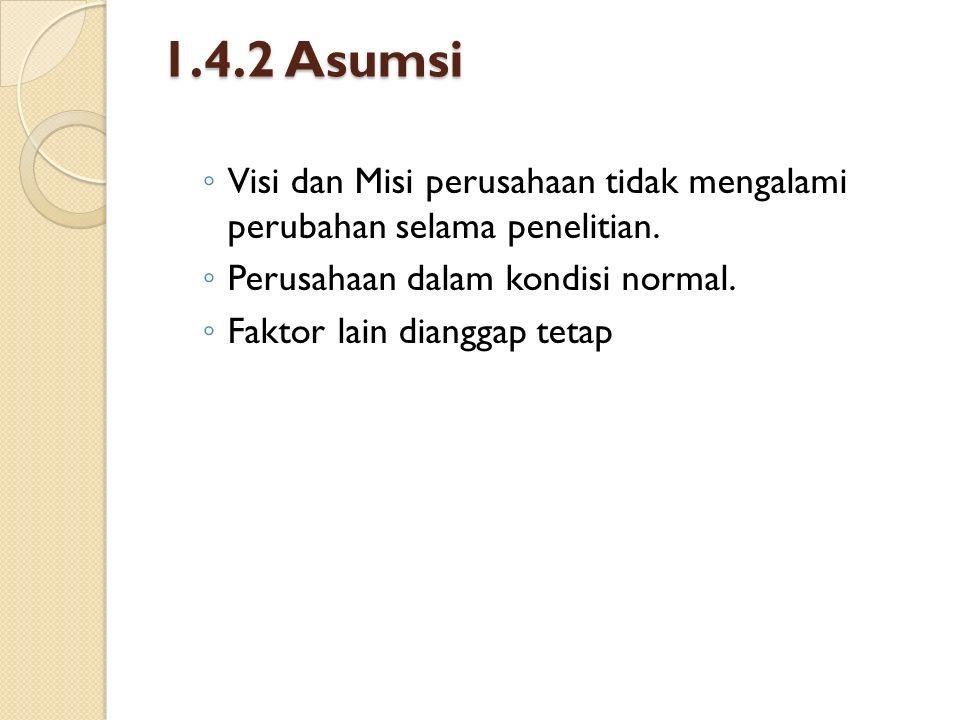 1.4.2 Asumsi ◦ Visi dan Misi perusahaan tidak mengalami perubahan selama penelitian. ◦ Perusahaan dalam kondisi normal. ◦ Faktor lain dianggap tetap