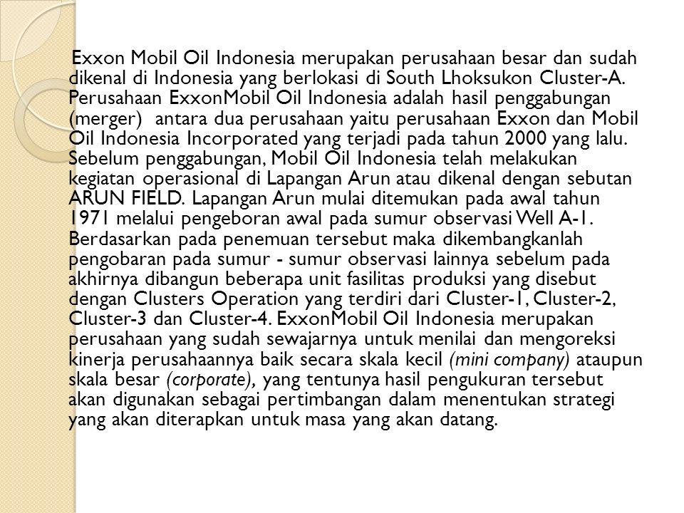 Exxon Mobil Oil Indonesia merupakan perusahaan besar dan sudah dikenal di Indonesia yang berlokasi di South Lhoksukon Cluster-A. Perusahaan ExxonMobil