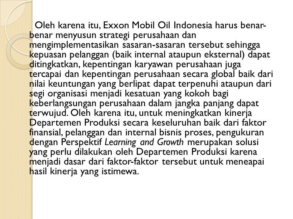 Oleh karena itu, Exxon Mobil Oil Indonesia harus benar- benar menyusun strategi perusahaan dan mengimplementasikan sasaran-sasaran tersebut sehingga k