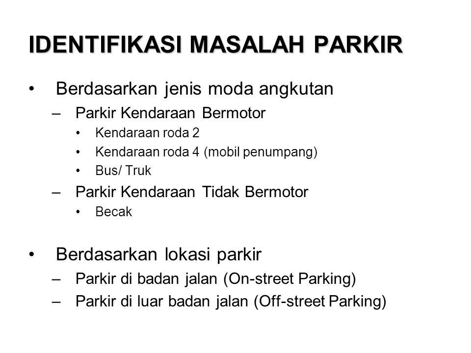 IDENTIFIKASI MASALAH PARKIR Berdasarkan jenis moda angkutan –Parkir Kendaraan Bermotor Kendaraan roda 2 Kendaraan roda 4 (mobil penumpang) Bus/ Truk –Parkir Kendaraan Tidak Bermotor Becak Berdasarkan lokasi parkir –Parkir di badan jalan (On-street Parking) –Parkir di luar badan jalan (Off-street Parking)