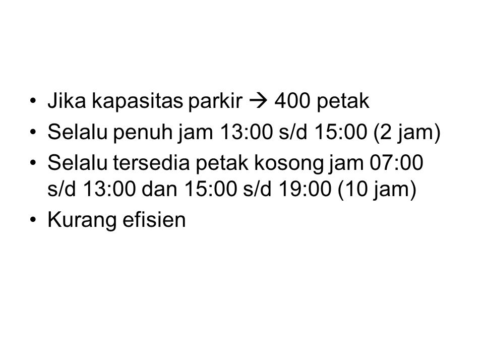 Jika kapasitas parkir  400 petak Selalu penuh jam 13:00 s/d 15:00 (2 jam) Selalu tersedia petak kosong jam 07:00 s/d 13:00 dan 15:00 s/d 19:00 (10 ja