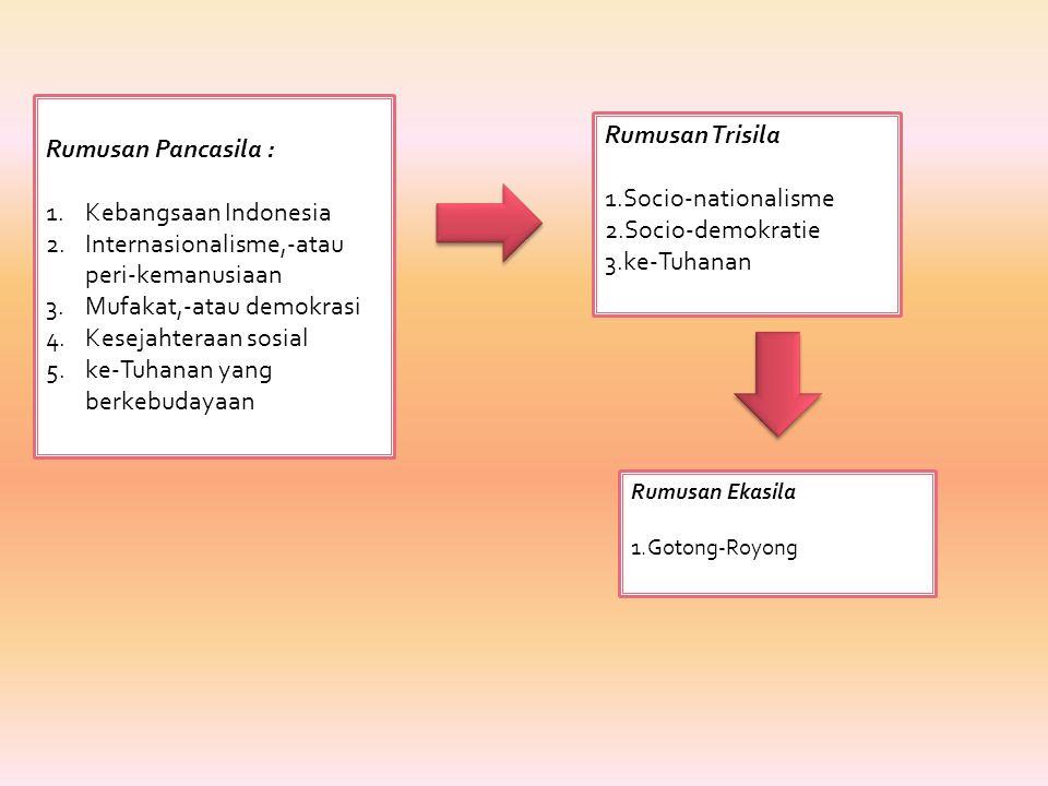Rumusan II: Ir. Soekarno Selain Muh Yamin, beberapa anggota BPUPKI juga menyampaikan usul dasar negara, diantaranya adalah Ir Sukarno Usul ini disampa