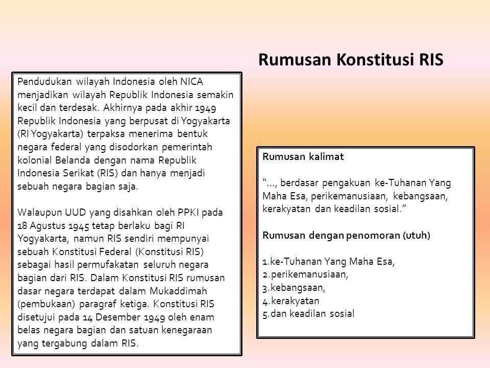  Terdapat dua pandangan besar terhadap Dasar Negara yang berpengaruh terhadap munculnya Dekrit Presiden Pandangan tersebut yaitu mereka yang memenuhi anjuran Presiden/ Pemerintah untuk kembali ke Undang- Undang Dasar 1945 dengan Pancasila sebagaimana dirumuskan dalam Piagam Jakarta sebagai Dasar Negara.