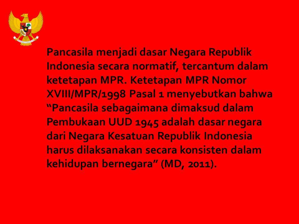 Mei 1998, Rezim Orde Baru tumbang oleh reformasi PHOBIA PANCASILA Lunturnya Nilai-Nilai Pancasila