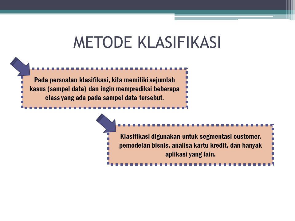 METODE KLASIFIKASI Pada persoalan klasifikasi, kita memiliki sejumlah kasus (sampel data) dan ingin memprediksi beberapa class yang ada pada sampel data tersebut.