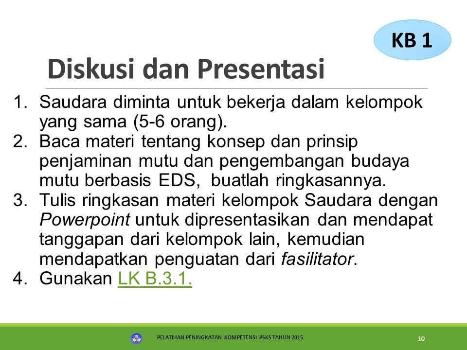 PELATIHAN PENINGKATAN KOMPETENSI PSKS TAHUN 2015 10 Diskusi dan Presentasi 1.Saudara diminta untuk bekerja dalam kelompok yang sama (5-6 orang). 2.Bac