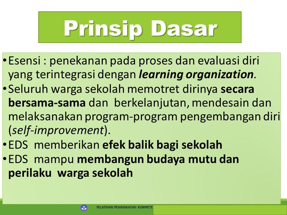 PELATIHAN PENINGKATAN KOMPETENSI PSKS TAHUN 2015 15 Prinsip Dasar Esensi : penekanan pada proses dan evaluasi diri yang terintegrasi dengan learning o