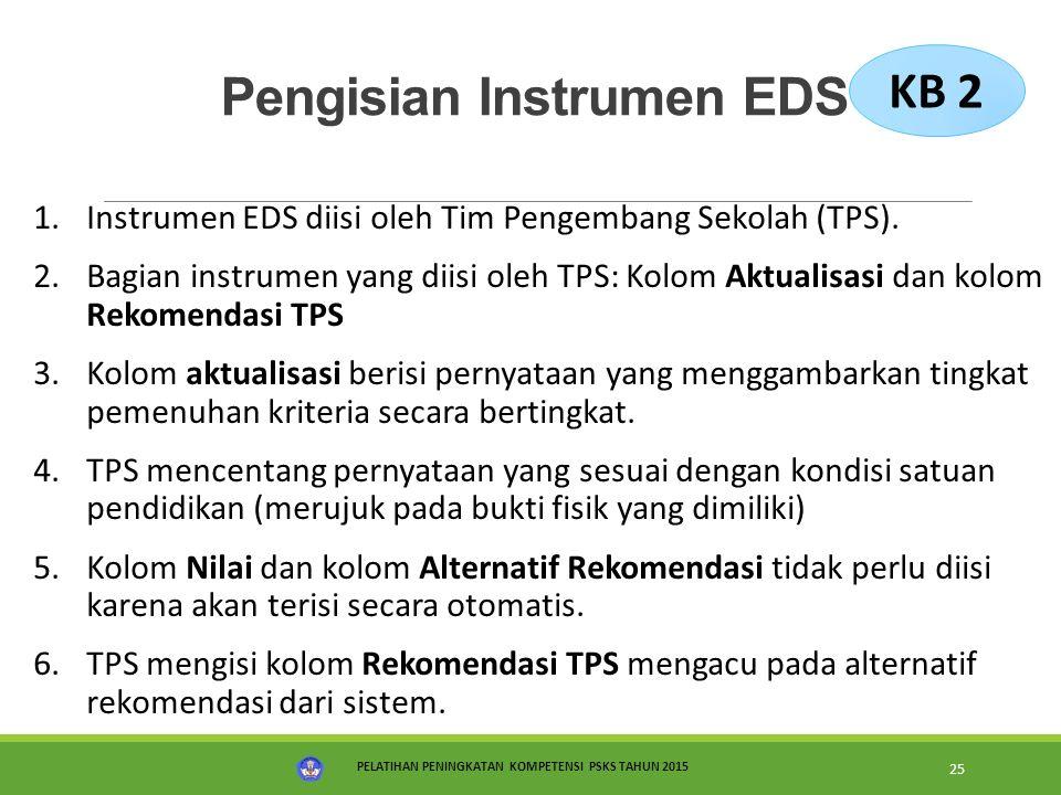 PELATIHAN PENINGKATAN KOMPETENSI PSKS TAHUN 2015 25 Pengisian Instrumen EDS 1.Instrumen EDS diisi oleh Tim Pengembang Sekolah (TPS). 2.Bagian instrume