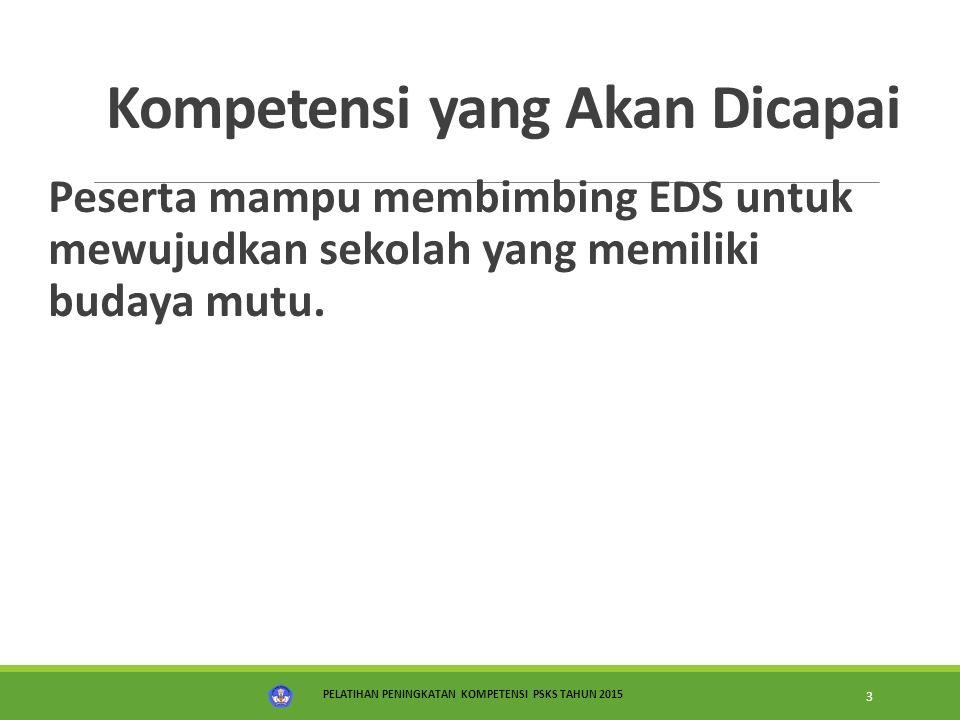 PELATIHAN PENINGKATAN KOMPETENSI PSKS TAHUN 2015 3 Kompetensi yang Akan Dicapai Peserta mampu membimbing EDS untuk mewujudkan sekolah yang memiliki bu