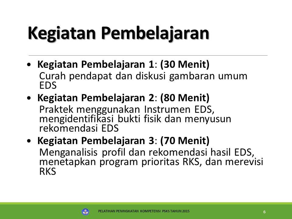 PELATIHAN PENINGKATAN KOMPETENSI PSKS TAHUN 2015 7 Alur Kegiatan Pembelajaran KEGIATAN PEMBELAJARAN MATERI Konsep dan Prinsip EDS Instrumen EDS RKS Revisi RKS berdasarkan hasil EDS (ON) Diskusi & presentasi EDS (IN- 1) (LK.B.3.1) Praktek menggunakan instrumen, identifikasi bukti fisik dan menyusun rekomendasi (IN-1) (LK.B.3.1)  Menganalisis profil dan menentukan rekomendasi (LK.B.3.3)  Menetapkan program proritas RKS (LK.B.3.4)  Menyusun RKS (LK.B.3.5) (IN-1) Mempresentasikan Hasil Revisi RKS (IN- 2)