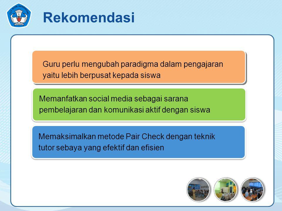 Guru perlu mengubah paradigma dalam pengajaran yaitu lebih berpusat kepada siswa Memaksimalkan metode Pair Check dengan teknik tutor sebaya yang efektif dan efisien Rekomendasi Memanfatkan social media sebagai sarana pembelajaran dan komunikasi aktif dengan siswa
