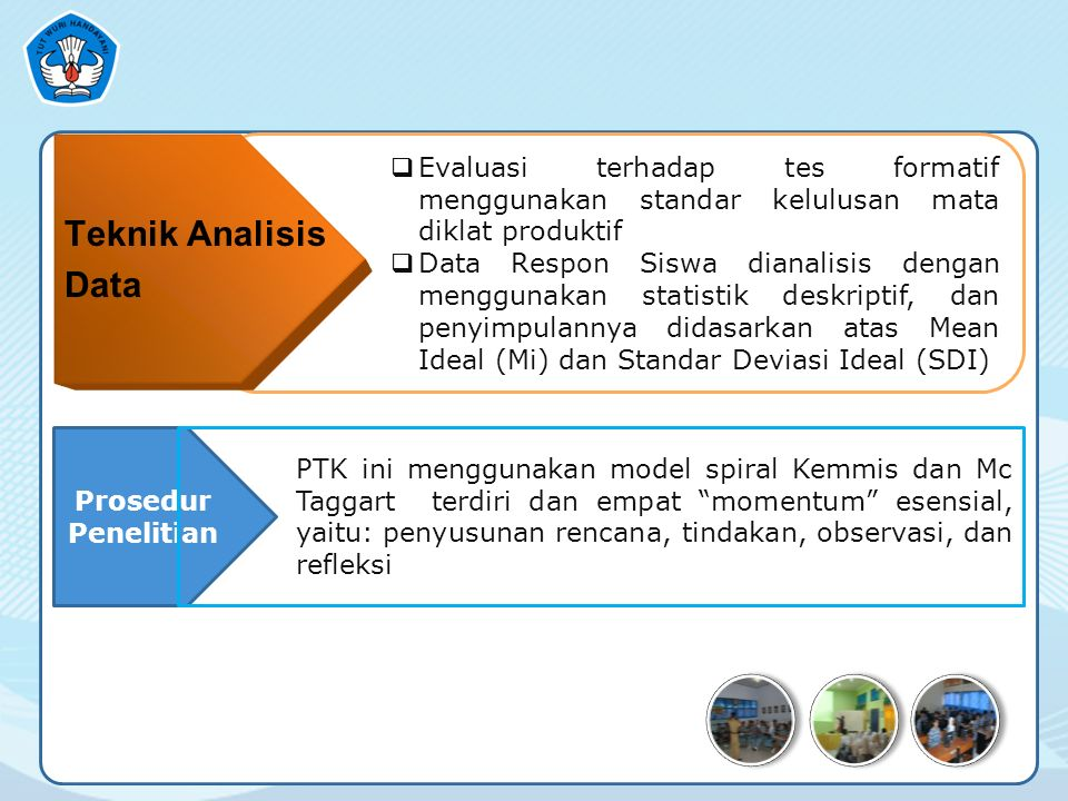  Evaluasi terhadap tes formatif menggunakan standar kelulusan mata diklat produktif  Data Respon Siswa dianalisis dengan menggunakan statistik deskriptif, dan penyimpulannya didasarkan atas Mean Ideal (Mi) dan Standar Deviasi Ideal (SDI) Prosedur Penelitian PTK ini menggunakan model spiral Kemmis dan Mc Taggart terdiri dan empat momentum esensial, yaitu: penyusunan rencana, tindakan, observasi, dan refleksi