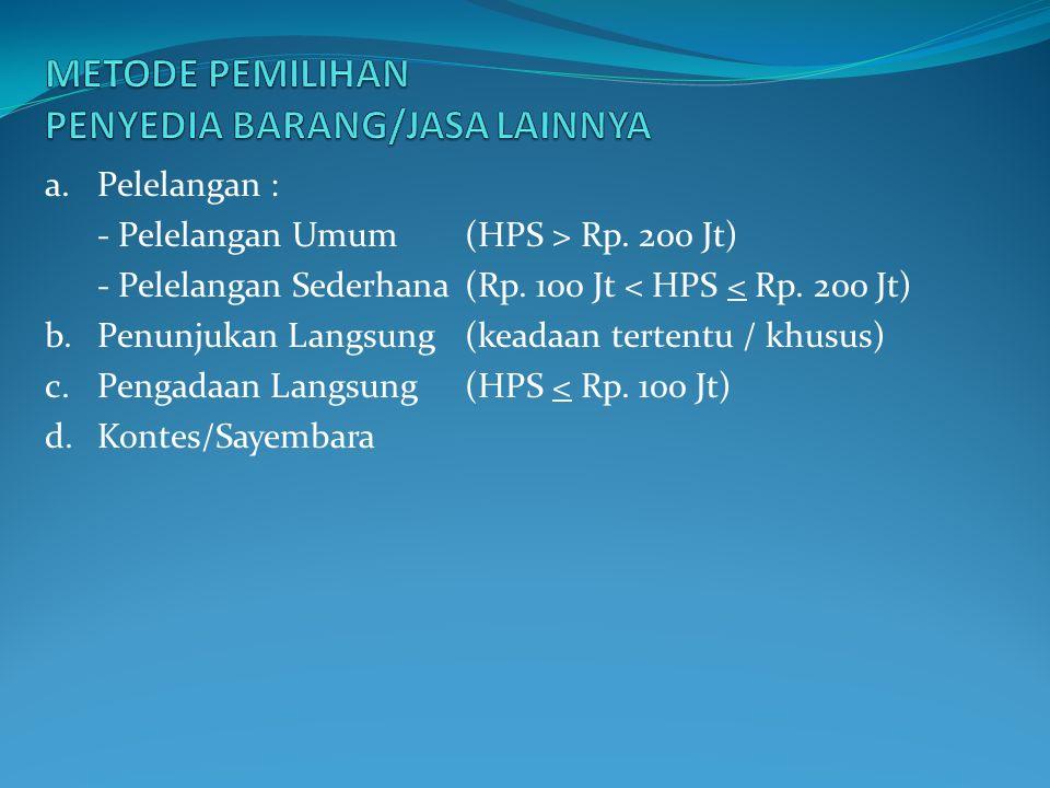 a.Pelelangan : - Pelelangan Umum (HPS > Rp. 200 Jt) - Pelelangan Sederhana(Rp.