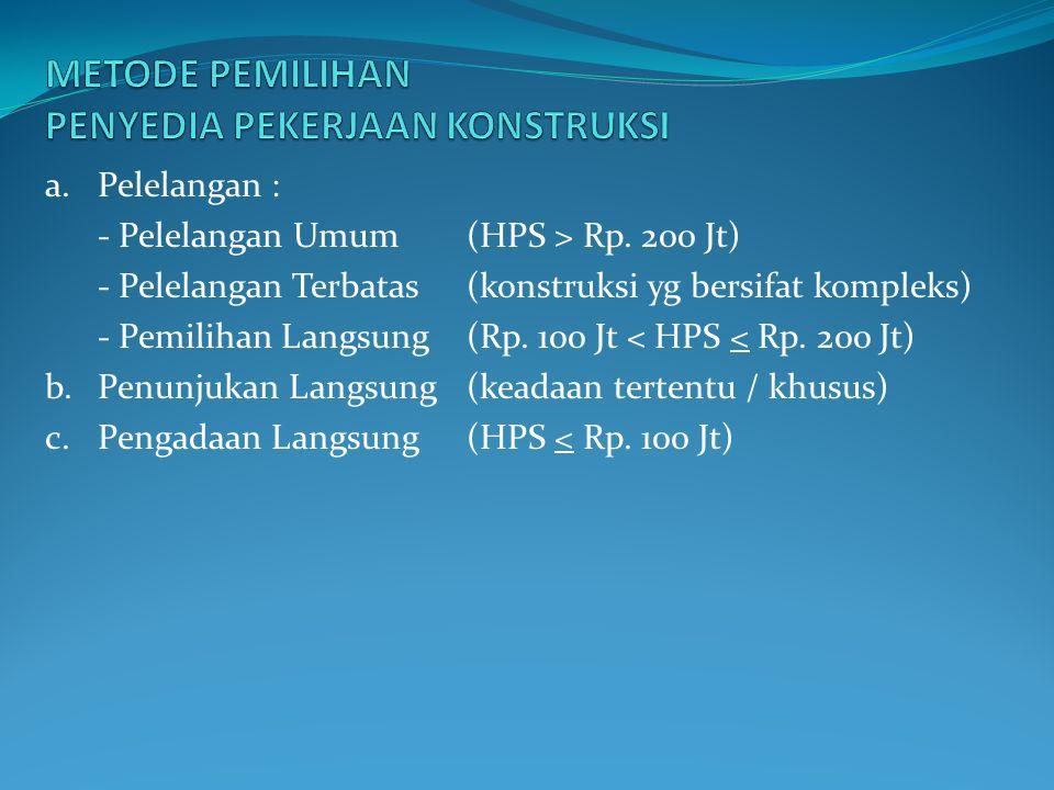 a.Pelelangan : - Pelelangan Umum (HPS > Rp.