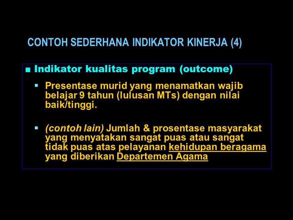 ■ Indikator kualitas program (outcome)  Presentase murid yang menamatkan wajib belajar 9 tahun (lulusan MTs) dengan nilai baik/tinggi.