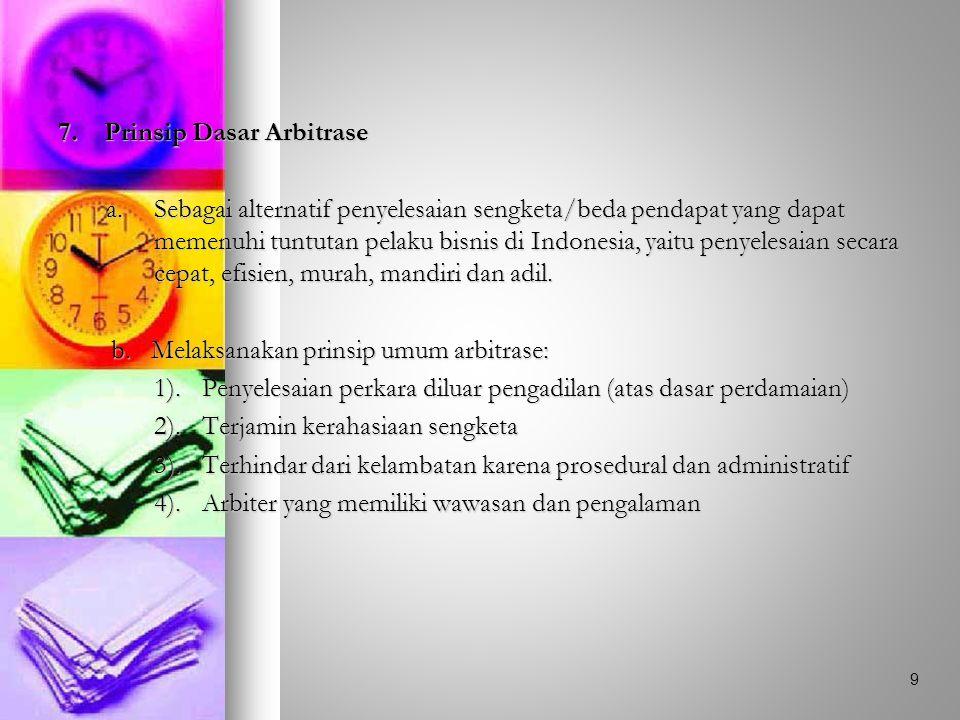 7. Prinsip Dasar Arbitrase a.Sebagai alternatif penyelesaian sengketa/beda pendapat yang dapat memenuhi tuntutan pelaku bisnis di Indonesia, yaitu pen