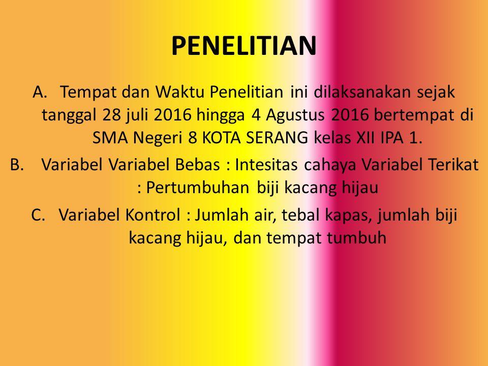 PENELITIAN A.Tempat dan Waktu Penelitian ini dilaksanakan sejak tanggal 28 juli 2016 hingga 4 Agustus 2016 bertempat di SMA Negeri 8 KOTA SERANG kelas XII IPA 1.