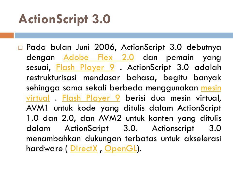 ActionScript 3.0  Pada bulan Juni 2006, ActionScript 3.0 debutnya dengan Adobe Flex 2.0 dan pemain yang sesuai, Flash Player 9. ActionScript 3.0 adal