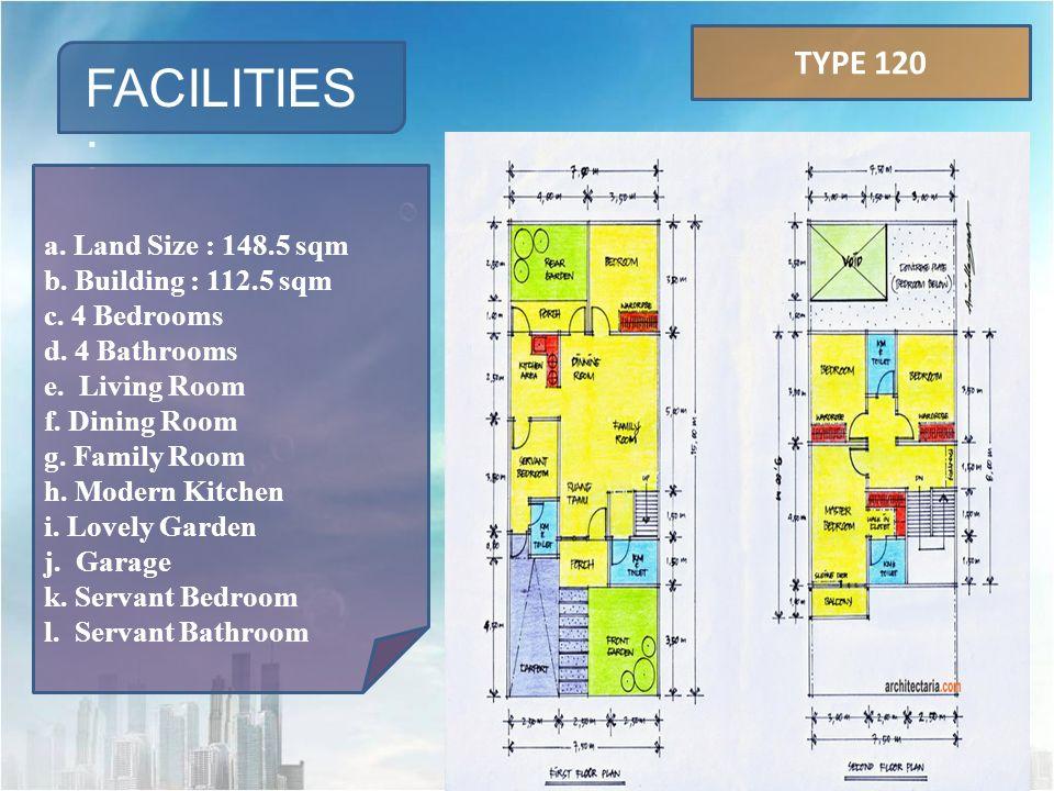 FACILITIES : a.Land Size : 218 sqm b. Building : 204 sqm c.