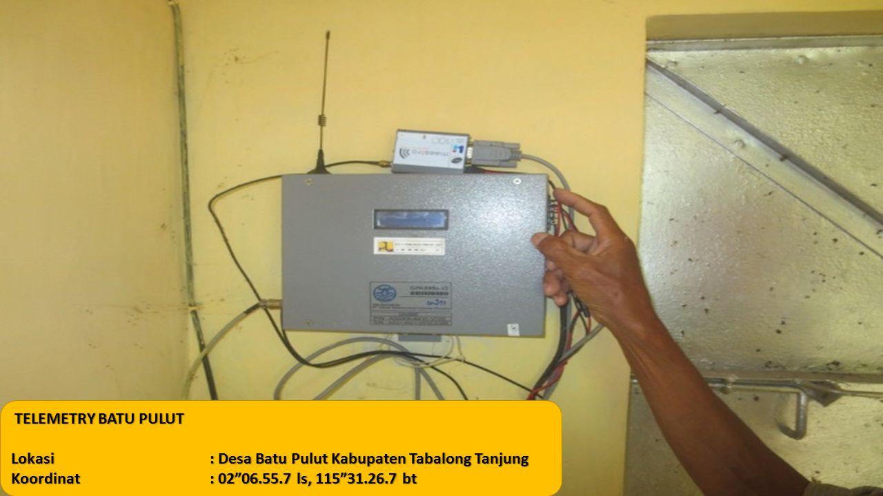 "TELEMETRY BATU PULUT TELEMETRY BATU PULUT Lokasi: Desa Batu Pulut Kabupaten Tabalong Tanjung Koordinat: 02""06.55.7 ls, 115""31.26.7 bt"
