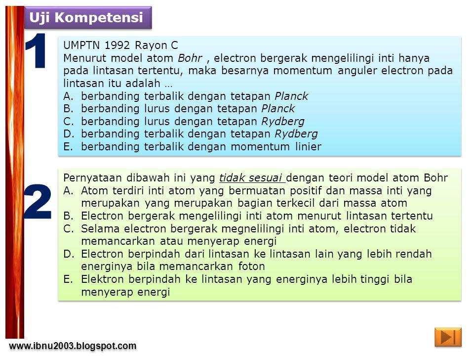 www.ibnu2003.blogspot.com www.ibnu2003.blogspot.com Uji Kompetensi 3 4 SPMB 2004 kode 452 Nomor 10 Pernyataan di bawah ini berhubungan dengan pemancaran dan penyerapan energi oleh setiap atom.