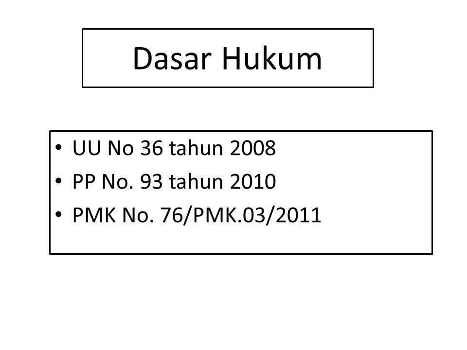 Dasar Hukum UU No 36 tahun 2008 PP No. 93 tahun 2010 PMK No. 76/PMK.03/2011